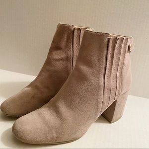 ZARA Light Gray Booties with Block Heels